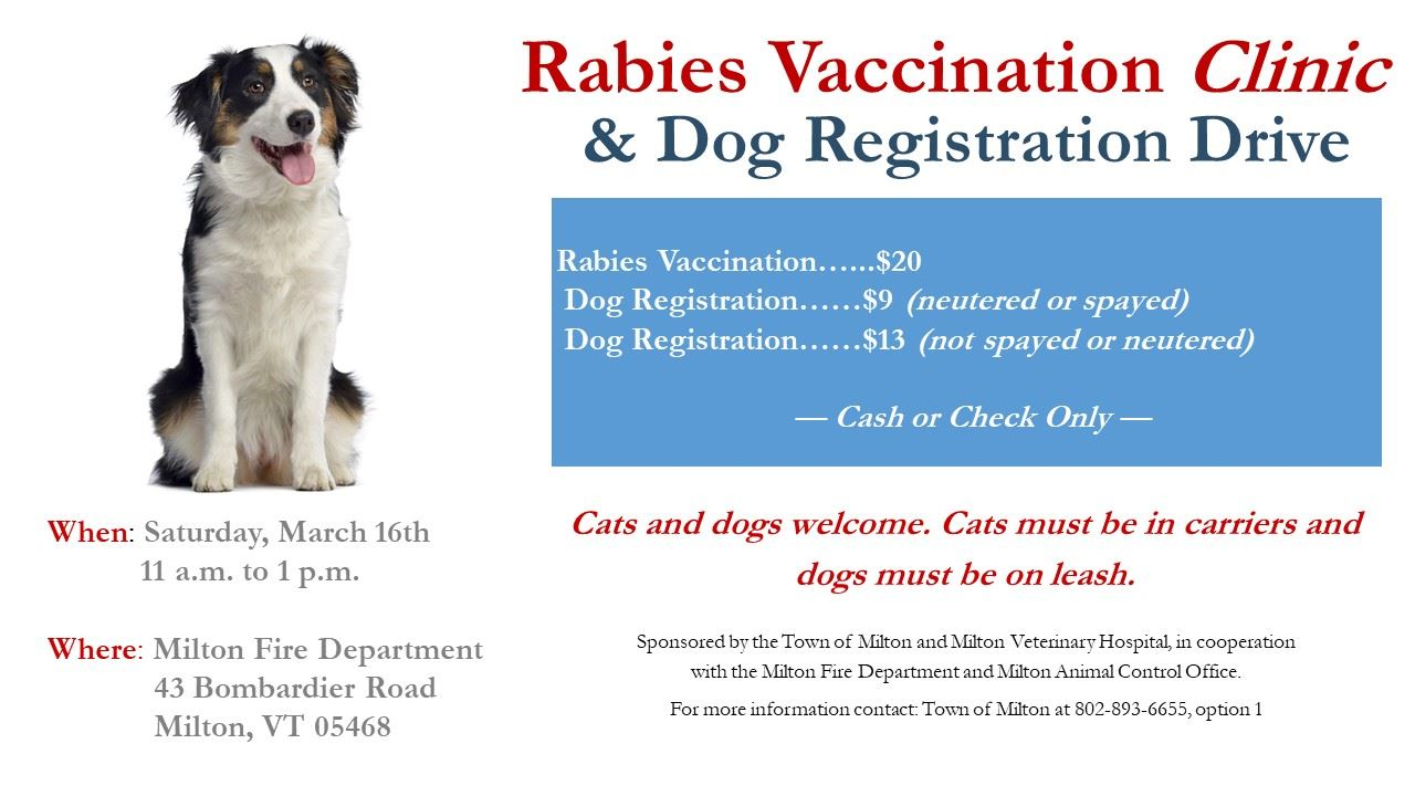 2019 Rabies Clinic, March 16th 11am to 1pm